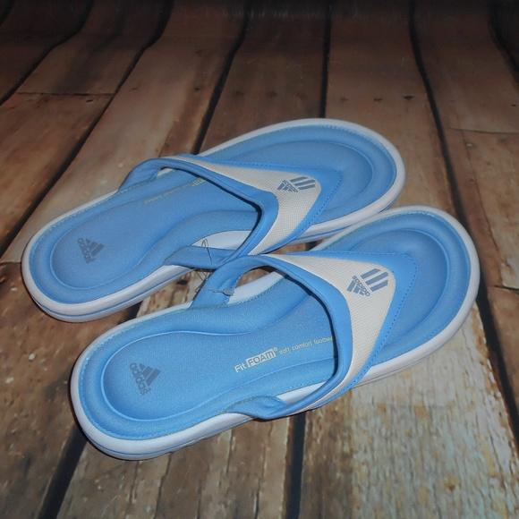 7e9e8ccf2977b Adidas Fit Foam Blue And White Flip Flops NWT